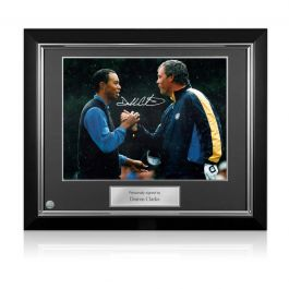 Darren Clarke Signed Photograph: Slaying The Tiger. Deluxe Frame