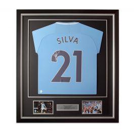 David Silva Signed Manchester City 2017-18 Football Shirt. Framed Limited Edition