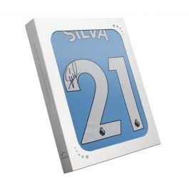 David Silva Signed Manchester City 2019-20 Home Shirt. In Gift Box