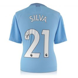 David Silva Signed Manchester City 2019-20 Home Shirt