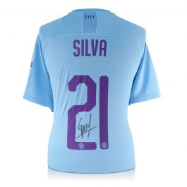 David Silva Signed Manchester City 2019-20 Home Shirt With European Print
