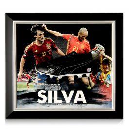 David Silva Signed Football Boot Spain Presentation. Framed