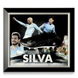 David Silva Signed Football Boot Manchester City Presentation. Framed