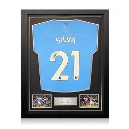 David Silva Signed Manchester City 2019-20 Home Shirt. Standard Frame