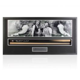 Framed Steve Davis And Dennis Taylor Signed Snooker Cue