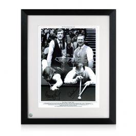 Framed Signed Steve Davis And Dennis Taylor Snooker Photo: 1985 World Championship