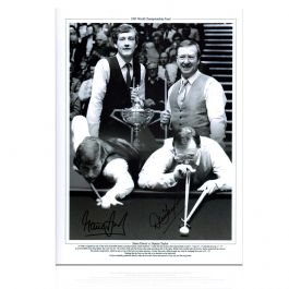 Signed Steve Davis And Dennis Taylor Snooker Photo: 1985 World Championship
