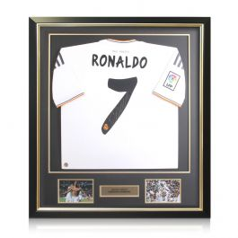 Framed Cristiano Ronaldo Signed Real Madrid Football Shirt