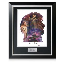 Tom Baker Signed Dr Who Silhouette Poster In Deluxe Frame