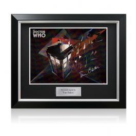 Tom Baker Signed Dr Who Tardis Poster In Deluxe Black Frame With Silver Inlay