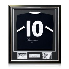 Denis Law Back Signed Scotland Football Shirt With Wembley 1967 Embroidery In Deluxe Black Frame With Silver Inlay