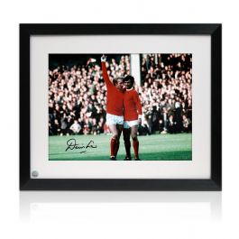 Denis Law Signed Manchester United Photograph: With George Best. Framed