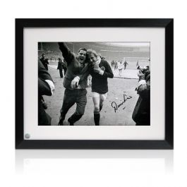 Framed Denis Law Signed Scotland Photograph: 1967 Win At Wembley