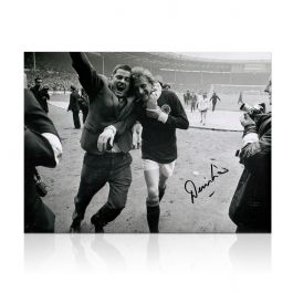 Denis Law Signed Scotland Photograph: 1967 Win At Wembley