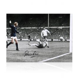 Denis Law Signed Scotland Photograph: Goal Against England