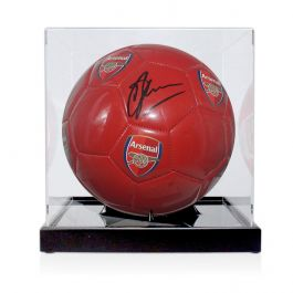 Dennis Bergkamp Signed Arsenal Football In Display Case