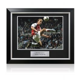 Dennis Bergkamp Signed Arsenal Football Photo: The Statue. Deluxe Frame