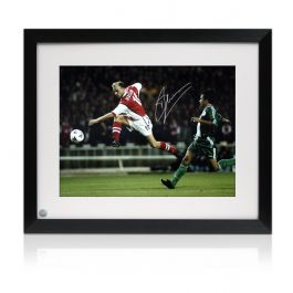 Framed Dennis Bergkamp Signed Arsenal Photo: Shooting