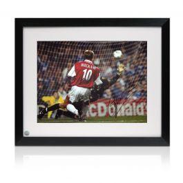 Dennis Bergkamp Signed Arsenal Photo: The Leicester Hat Trick. Framed