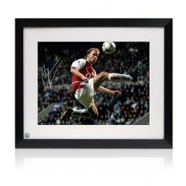 Framed Dennis Bergkamp Signed Arsenal Photo: The Statue