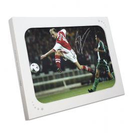 Dennis Bergkamp Signed Arsenal Photo: Shooting In Gift Box