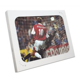 Dennis Bergkamp Signed Arsenal Photo: The Leicester Hat Trick. Gift Box