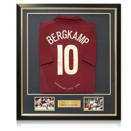 Dennis Bergkamp Signed Arsenal 2005-06 Commemorative Highbury Shirt. Framed
