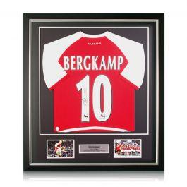 Dennis Bergkamp Signed Arsenal Heritage Invincibles Shirt. Deluxe Frame