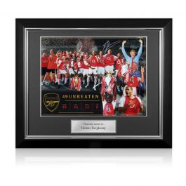 Dennis Bergkamp Signed Arsenal Photo: Invincibles. Deluxe Frame