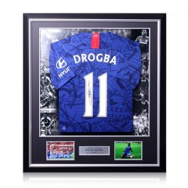 Didier Drogba Signed Chelsea 2019-20 Shirt. Luxury Frame