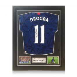 Didier Drogba Signed Chelsea 2019-20 Shirt. Standard Frame