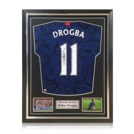 Didier Drogba Signed Chelsea 2019-20 Shirt. Superior Frame