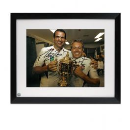 Jonny Wilkinson And Martin Johnson Signed 2003 Rugby World Cup Photo. Framed