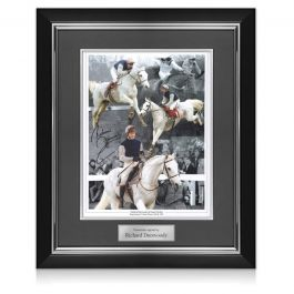 Richard Dunwoody Signed Horse Racing Photo: Desert Orchid. Deluxe Frame