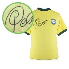 Pele Signed Brazil 1970 Football Shirt. Damaged Stock D