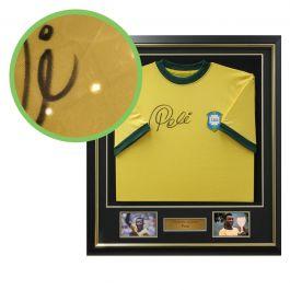 Pele Signed Brazil 1970 Football Shirt. Deluxe Frame. Damaged A