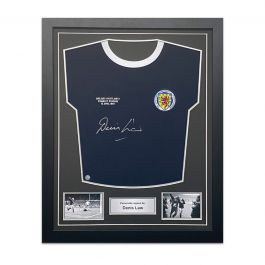 Denis Law Signed Scotland Football Shirt 1967. Standard Frame