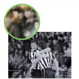 Paul Gascoigne & Peter Beardsley Signed Newcastle United Photo. Damaged A