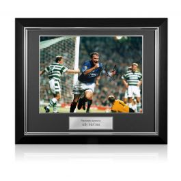 Ally McCoist Signed Rangers Photo: Goal Against Celtic. Deluxe Framed