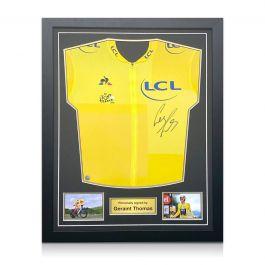 Geraint Thomas Signed Tour De France 2018 Yellow Jersey. Standard Frame