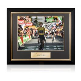 Geraint Thomas Signed Tour De France Photo: Alpe D'Huez Finishing Line. Deluxe Framed