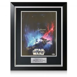 Daisy Ridley, Adam Driver & Ian McDiarmid Signed Star Wars Poster: The Rise Of Skywalker. Deluxe Frame