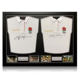 Jonny Wilkinson And Jason Robinson Signed England Rugby Shirts. Dual Frame
