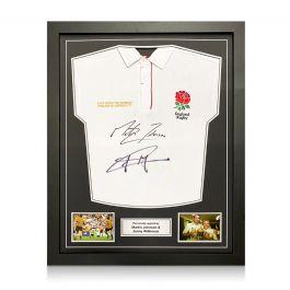 Jonny Wilkinson And Martin Johnson Signed England Rugby Shirt. Standard Frame