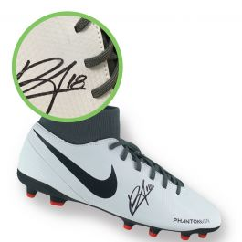 Bruno Fernandes Signed White Football Boot. Damaged A