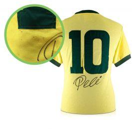 Pele Number 10 Brazil Football Shirt Signed On The Back - Damaged Stock A