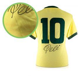Pele Number 10 Brazil Football Shirt Signed On The Back - Damaged Stock B