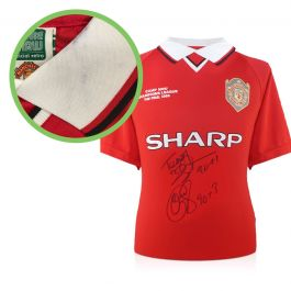 Teddy Sheringham & Ole Gunnar Solskjaer Signed Man United Shirt With Goal Times - Damaged Stock