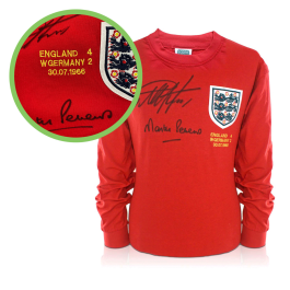 Geoff Hurst And Martin Peters Signed England 1966 Football Shirt - Damaged Stock C
