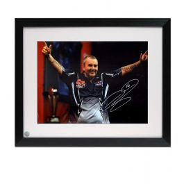 Framed Phil Taylor Signed Darts Photo: Power And Glory